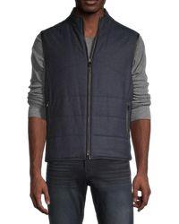 Corneliani Men's Reversible Quilted Virgin Wool Vest - Navy - Size 58 (48) - Blue