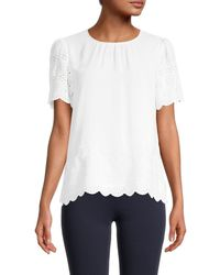 Tommy Hilfiger Women's Eyelet Puffed-sleeve Top - Ivory - Size Xl - White