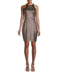 Guess Metallic Leopard-print Dress - Black