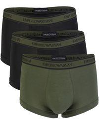 Emporio Armani Men's 3-pack Solid Boxer Briefs - Black - Size M