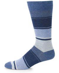 Saks Fifth Avenue Blended Striped Crew Socks - Blue