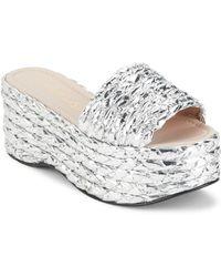 Aperlai Orianna Braided Flatform Sandals - Metallic