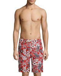 Tommy Bahama Men's Baja Forte Floral-print Swim Trunks - Cobalt Sea - Size Xl - Red