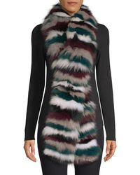 Jocelyn Multicolour Stripe Fox Fur Scarf