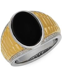 Effy Two-tone Sterling Silver, Black Onyx & White Diamond Ring