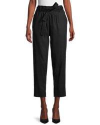 Calvin Klein Women's Linen-blend Paperbag Trousers - Black - Size M