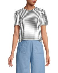 BCBGeneration Striped Puff-sleeve T-shirt - Black