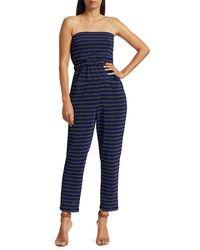 Rachel Comey Wayne Glitter Stripe Strapless Jumpsuit - Blue