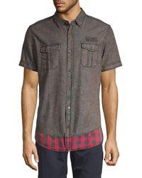 Buffalo David Bitton Printed Short-sleeve Shirt - Black