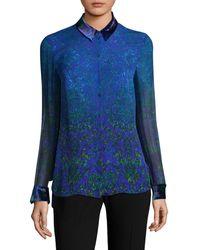 Elie Tahari Prima Floral Silk Blouse - Blue