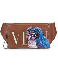 Valentino Garavani Beaded Eagle Leather Waist Bag - Brown