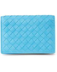 Bottega Veneta Intrecciato Leather Bi-fold Wallet - Blue