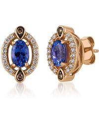 Le Vian Chocolatier® 14k Strawberry Gold®, Blueberry Tanzanite®, Chocolate Diamond® & Vanilla Diamond® Stud Earrings - Metallic