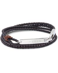 Tateossian Sterling Silver & Leather Wrap Bracelet - Brown