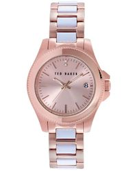 ted baker ladies classic charm two tone watch lyst