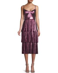 Marchesa notte Pleated Midi Dress - Purple