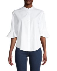 Maje Poet-sleeve Cotton Top - White