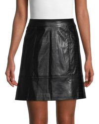 Pure Navy Croc-embossed Faux Leather Skirt - Black