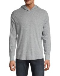 Vince Men's Waffle-knit Hoodie - Coastal - Size M - Grey