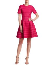 Oscar de la Renta Jacquard Stripe Short-sleeve Mini A-line Dress - Pink
