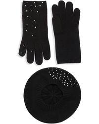 Portolano 2-piece Embellished Cashmere Beret & Gloves Set - Black
