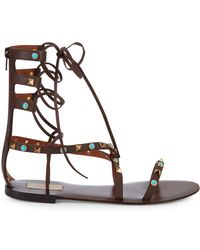 Valentino Leather Gladiator Sandals - Brown