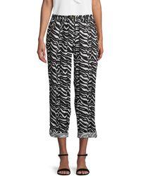 Calvin Klein Zebra-print Linen Tab-cuff Trousers - Black