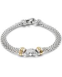 Effy Sterling Silver, 14k Yellow Gold & Diamond Bracelet - Metallic