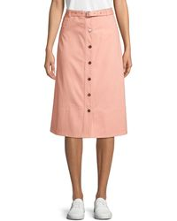 Elizabeth and James Merritt Button Front Midi Skirt - Pink