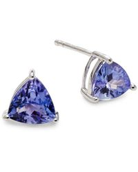 Effy - Women's Sterling Silver Tanzanite Triangle Stud Earrings - Blue - Lyst