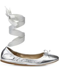 Saks Fifth Avenue Metallic Leather Ankle-wrap Ballet Flats