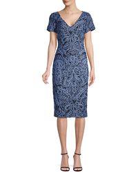 JS Collections Soutache-trimmed Sheath Dress - Blue