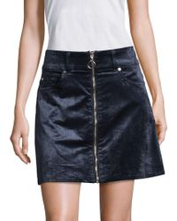7 For All Mankind - Zip-front Velvet Mini Skirt - Lyst