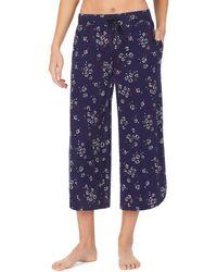 Donna Karan Floral Ditsy Print Wide-leg Capri Jersey Knit Sleep Pants - Blue