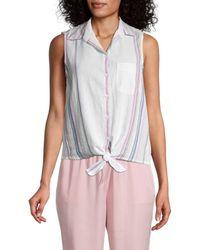 Beach Lunch Lounge Janera Striped Tie-knot Shirt - Pink