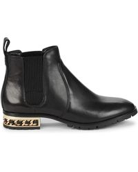 Karl Lagerfeld Simone Chain-trim Leather Chelsea Boots - Black