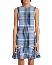 Akris Punto Plaid Tweed Flounce Hem Shift Dress - Blue