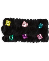 Glamourpuss Embellished Dyed Rabbit Fur, Cashmere & Wool Headband - Black