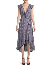 Max Studio Printed Ruffled Wrap Dress - Blue