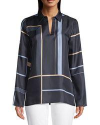 Lafayette 148 New York Nellie Geometric-print Silk Shirt - Black