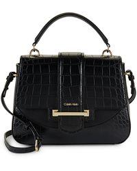 Calvin Klein Croc-embossed Faux Leather Satchel - Black