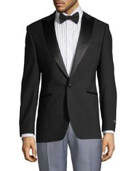 Saks Fifth Avenue Satin Lapel Tuxedo Jacket - Black