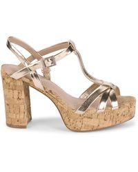 Charles David Women's Maverick Metallic Cork Platform Sandal - Gold Multi - Size 10