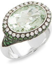 Estate Fine Jewelry - Vintage 18k White Gold, Multi-gemstone & Diamond Cocktail Ring - Lyst