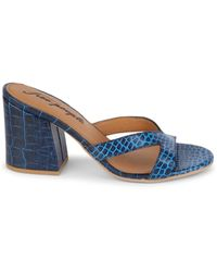 Free People Women's Embossed Croc Leather Sandals - Neon Pink - Size 40 (10) - Blue