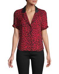 RTA Leopard-print Silk Top - Red