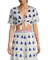 Tessora - Women's Lydia Tassel Crop Top - Playa Print - Size S - Lyst