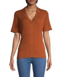 Calvin Klein Collared Rib-knit Top - Orange