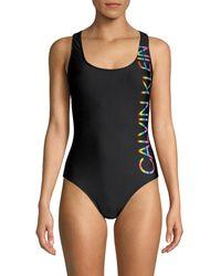 Calvin Klein - Classic Ck Logo One-piece Swimsuit - Lyst