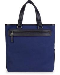Ferragamo Textile & Leather Tote - Blue
